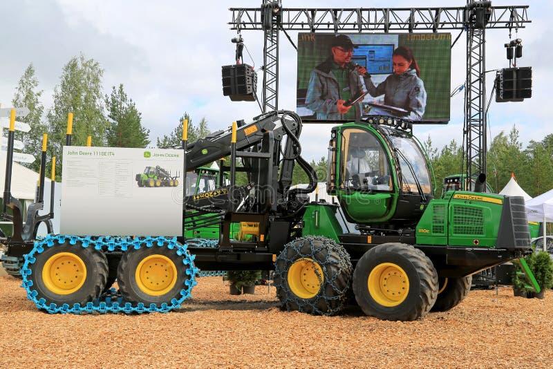 John Deere Harvester 1110E at FinnMETKO 2014 stock images