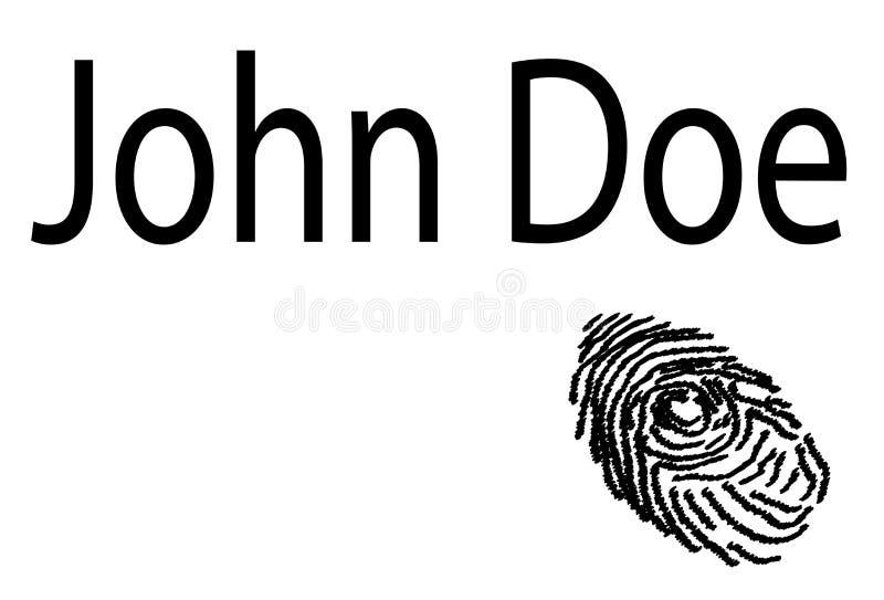 John Doe fingeravtryck på vit bakgrund stock illustrationer