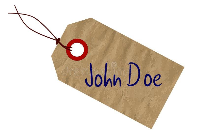 John Doe Toe Name Tag på vit stock illustrationer