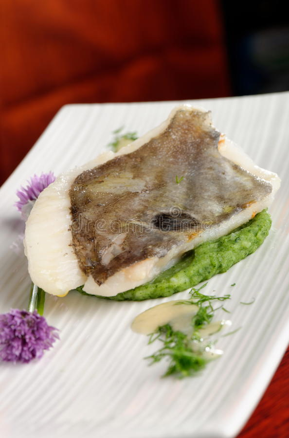 John Dory-Fischfilet auf Spinat stockbild