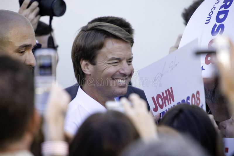 John Edwards Amongst Reporters Editorial Stock Photo