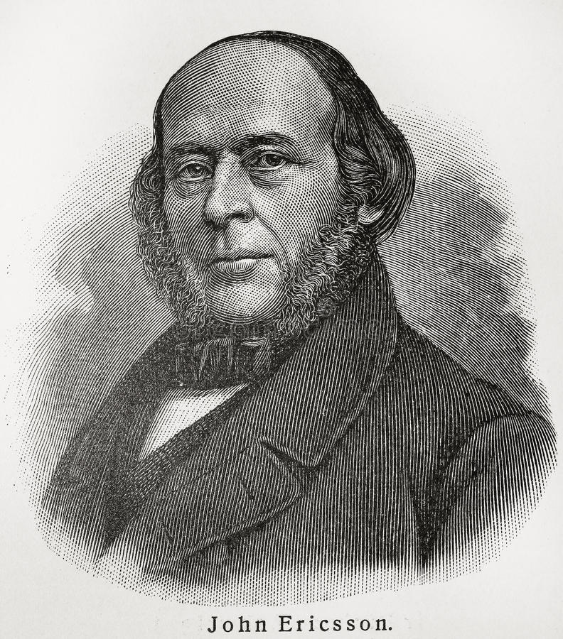 John Ericsson. (1803 - 1889) was a Swedish-American well known inventor and mechanical engineer. Picture from an 100 years old encyclopedia book stock illustration