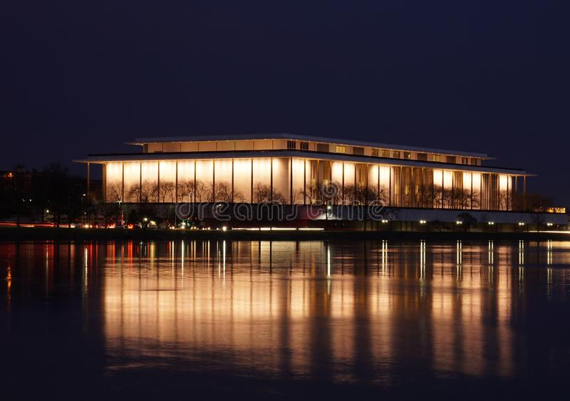 John F. Kennedy Center for the Performing Arts. View from Georgetown at night stock image