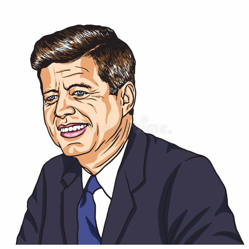 John F Kennedy Portrait Illustration de vecteur de caricature de bande dessinée 31 octobre 2017 illustration de vecteur
