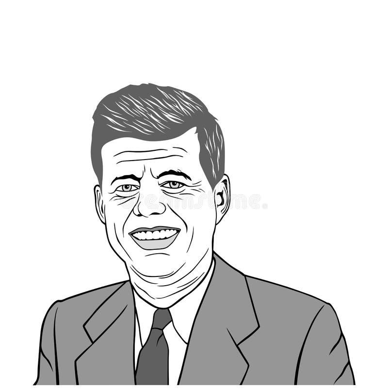 John F Kennedy Portrait Vector Design, illustration noire et blanche illustration stock