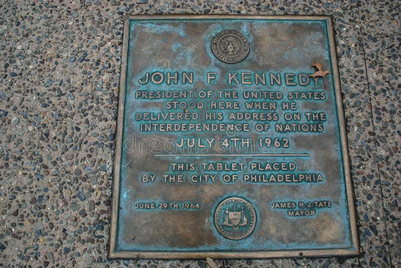 John F Kennedy Stood Here, Philadelphia, Pennsylvania, los E.E.U.U. imagen de archivo
