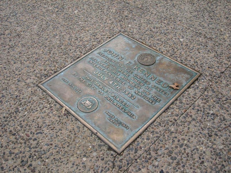 John F Kennedy Stood Here, Philadelphia, Pennsylvania, los E.E.U.U. imágenes de archivo libres de regalías
