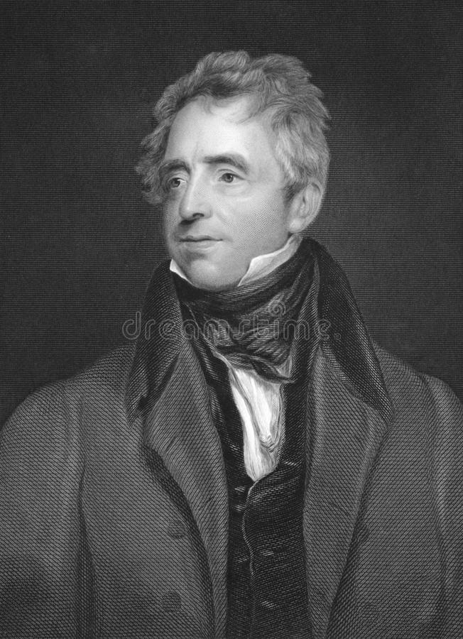 John Fawcett. (1768-1837) on engraving from the 1800s. English actor and playwright. Engraved by W.J.Edwards after a painting by T.Lawrence and published in stock image