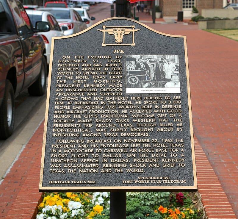 John Fitzgerald Kennedy Memorial Marker photo stock
