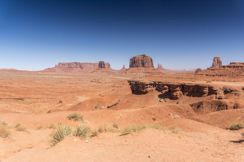 John Ford Point, Merrick Butte och vaktpost Mesa Monument Valley Arizona royaltyfria foton