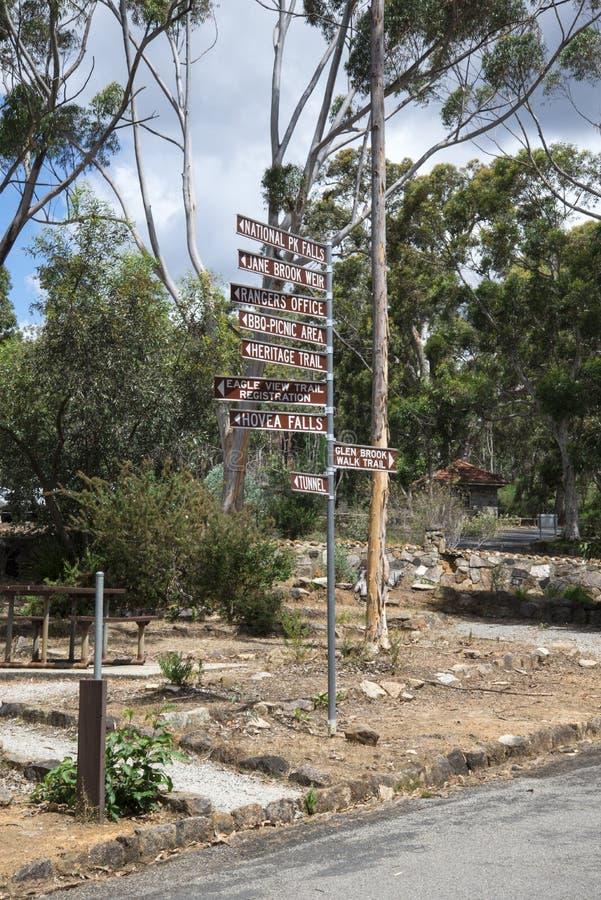 John Forrest National Park entrance sign post. Sign post near the entrance at John Forrest National Park, Western Australia royalty free stock photography