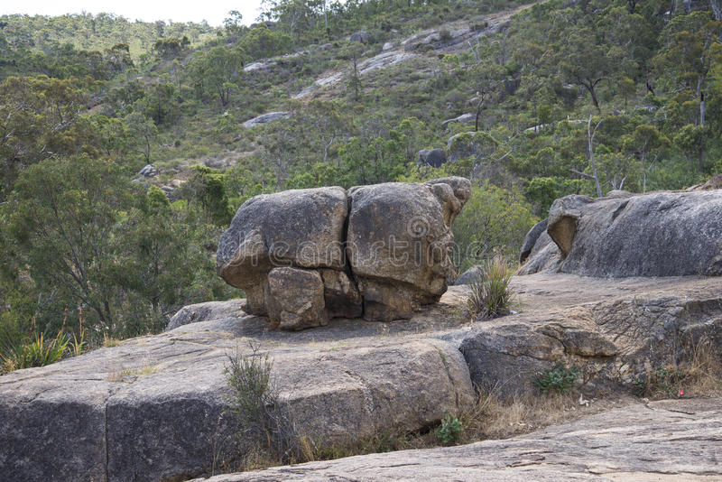 John Forrest National Park rocky landscape. Large rock in John Forrest National Park in Perth Hills, Western Australia royalty free stock photos