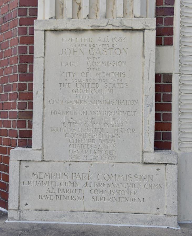John Gaston Community Center Dedication Plaque, Memphis, TN imagenes de archivo