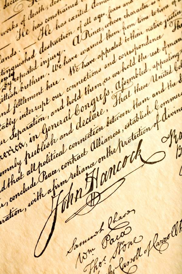 John Hancock on declaration. John Hancock signature on United States Declaration of Independence, closeup stock photos