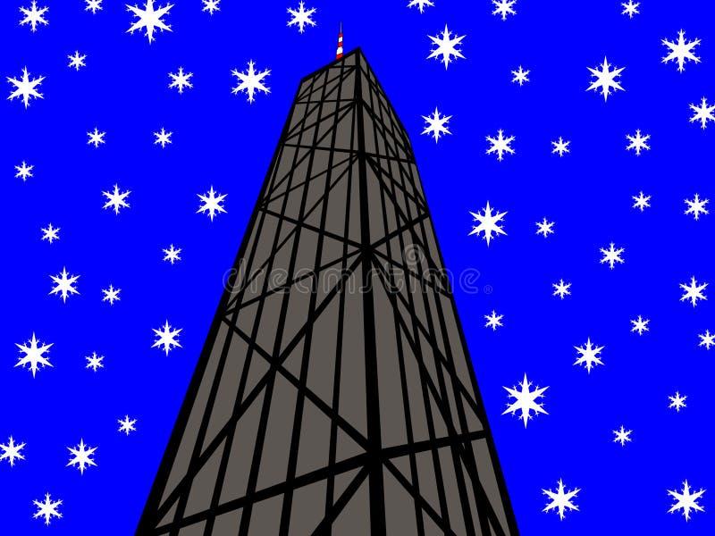 John Hancock tower w chicago zimy. ilustracja wektor
