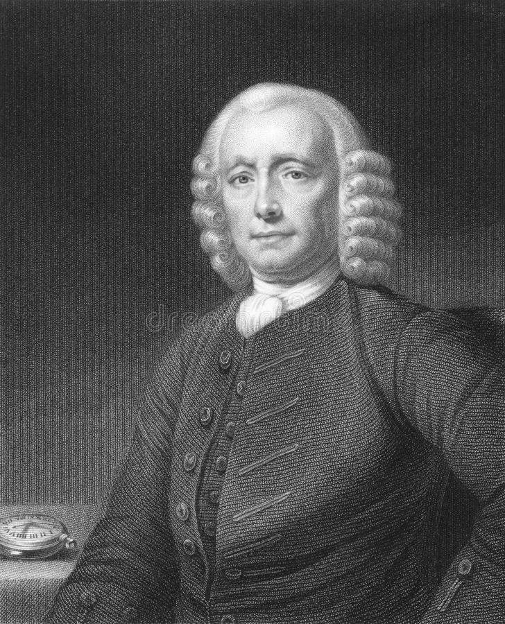 John Harrison. (1693-1776) on engraving from the 1800s. English clockmaker. Engraved by W. Holl and published in London by Charles Knight, Ludgate Street stock photos