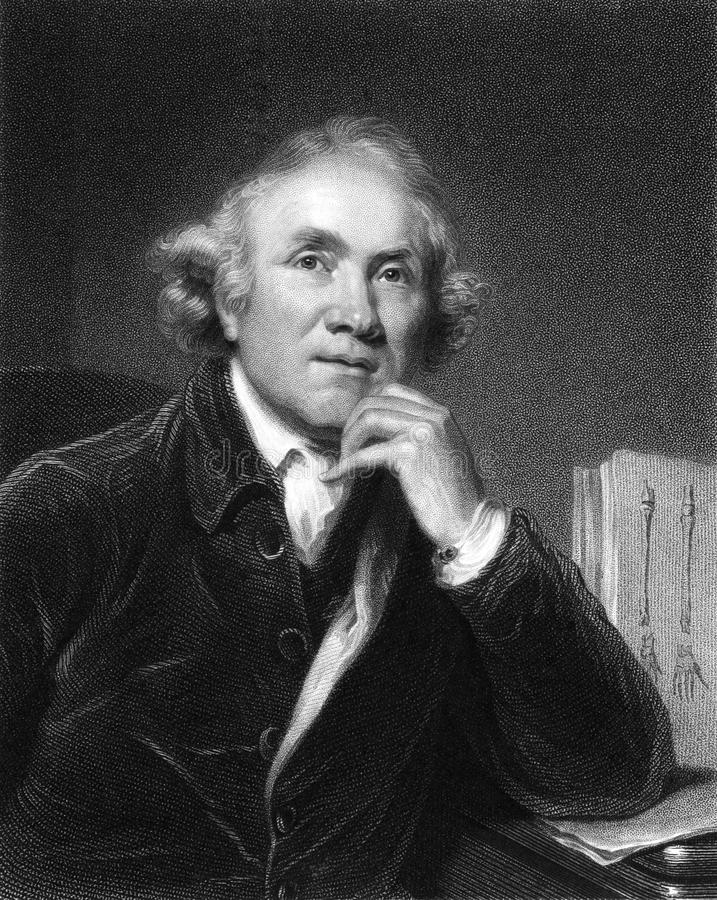 John Hunter. (1728-1793) on engraving from the 1800s. The father of scientific surgery. One of the first to apply a rational and scientific approach to surgery stock image
