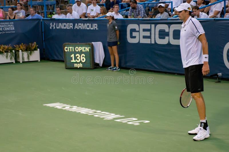 John Isner serves 136 mph at the Citi Open 2015. John Isner hits a 136 mph serve at the Citi Open tennis tournament in Washington DC 2015 royalty free stock images