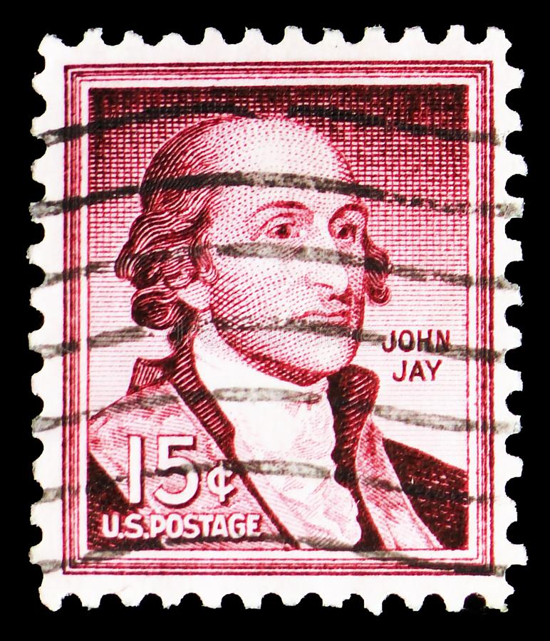 John Jay 1745-1829, former Governor of New York, Liberty Issue serie, circa 1958. MOSCOW, RUSSIA - MARCH 23, 2019: A stamp printed in United States shows John stock image