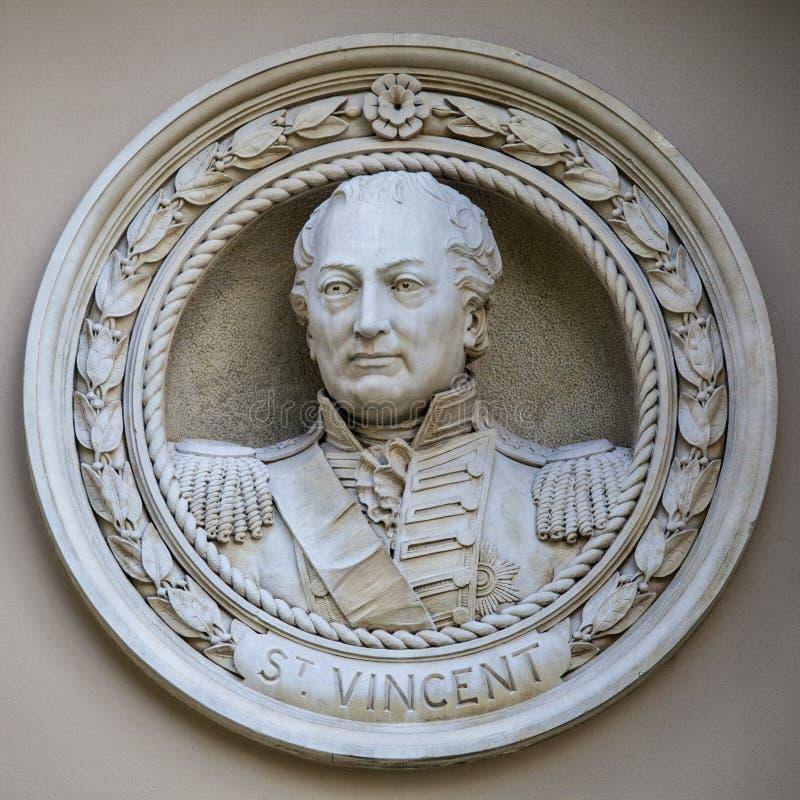 John Jervis Medallion Bust em Greenwich fotografia de stock