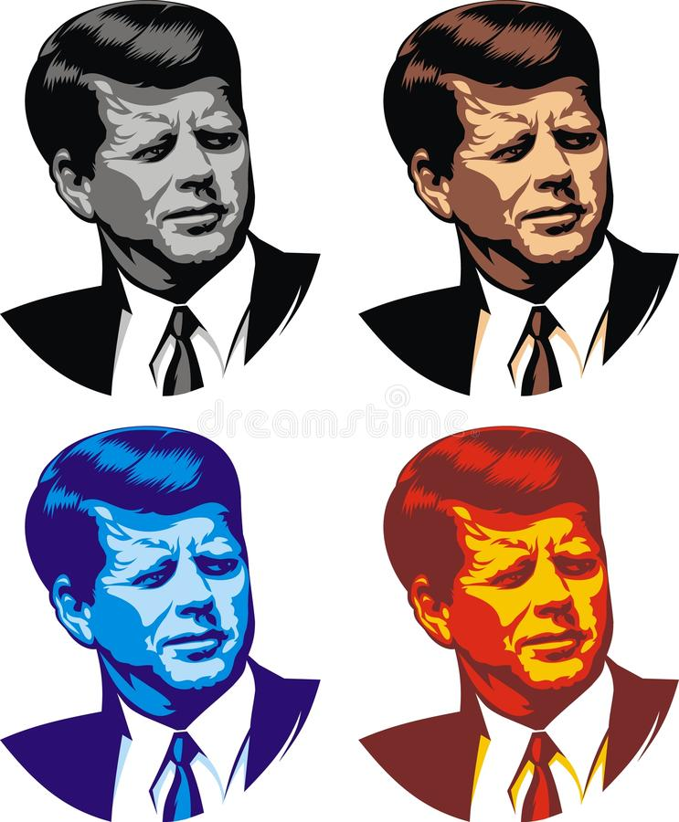 John Kennedy - my caricature. In the different colors vector illustration