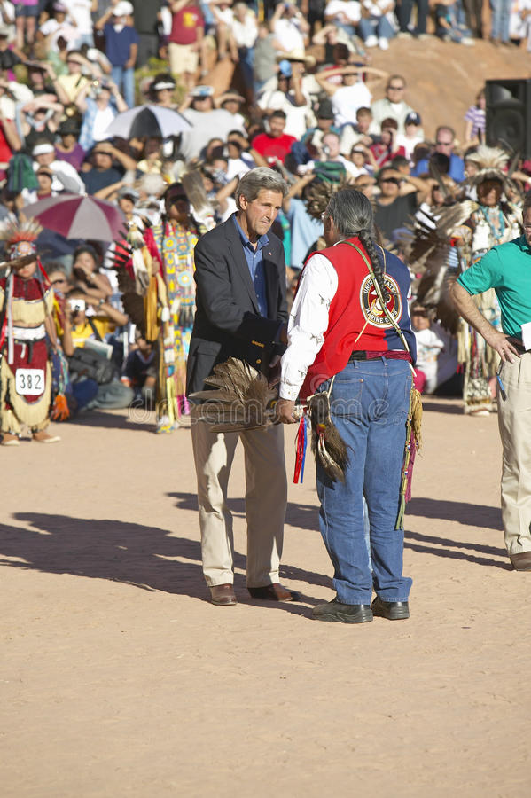John Kerry And  Intertribal Council President Editorial Stock Image