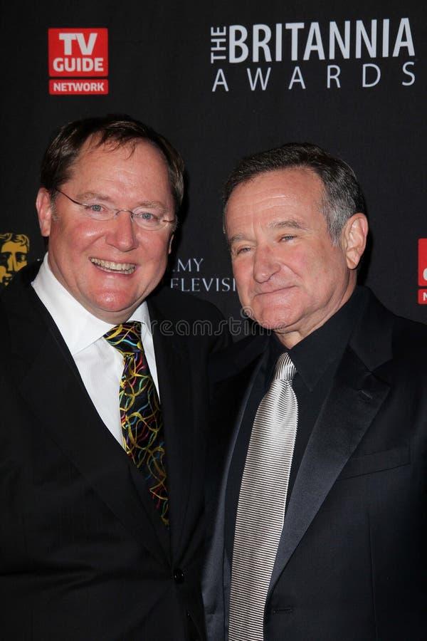 John Lasseter, Robin Williams photographie stock libre de droits