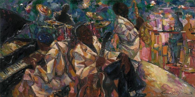 John Lee Hooker, картина маслом, художник римское Nogin, звуки ` серии джаза ` стоковые фото