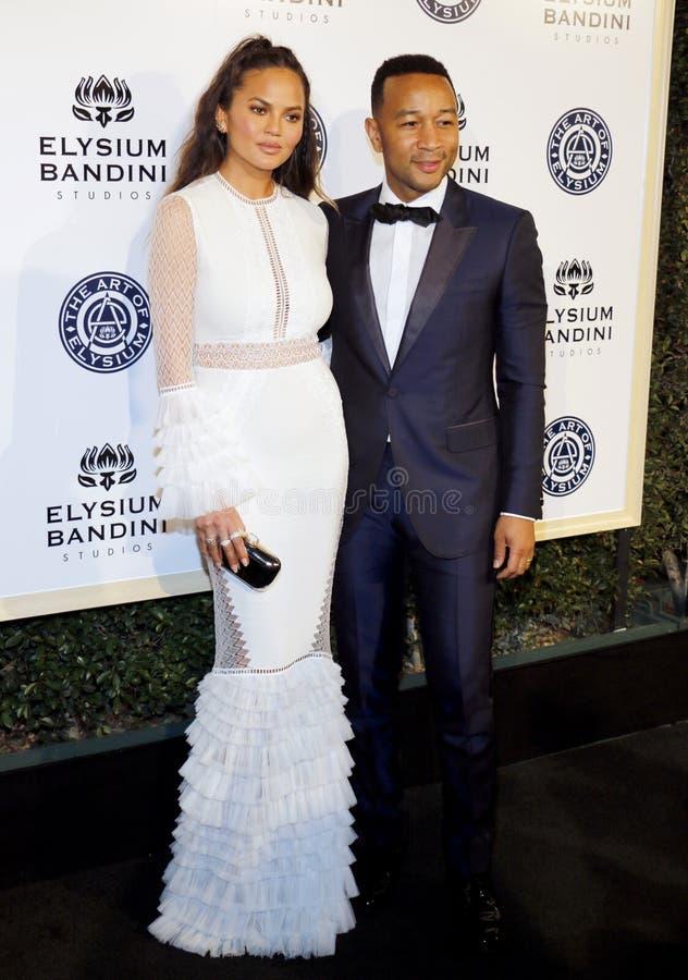 John Legend och Chrissy Teigen royaltyfria foton