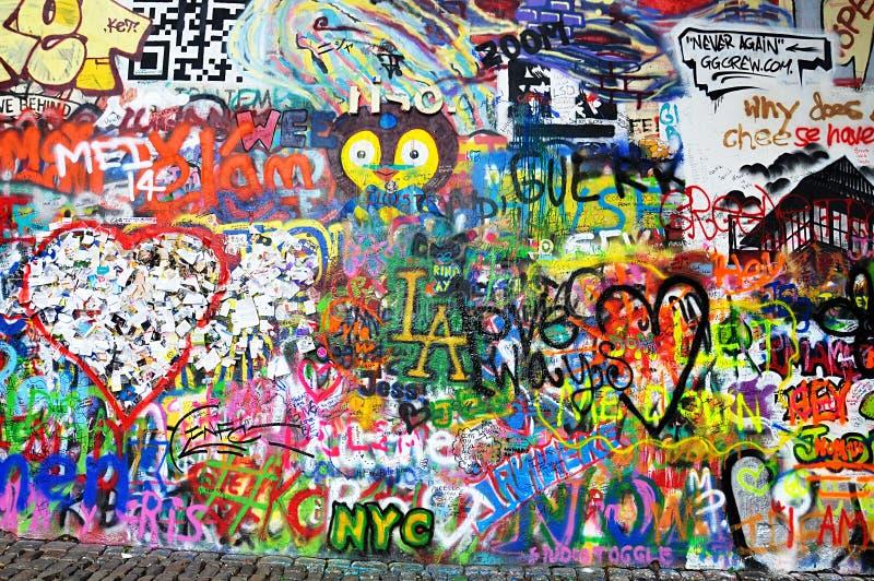 John Lennon ściana jest ścianą w Praga, republika czech obraz royalty free