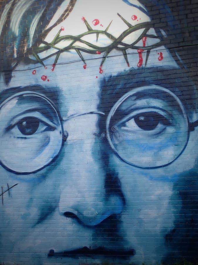 JOHN LENNON - Graffiti in Liverpool 2018 stock photos