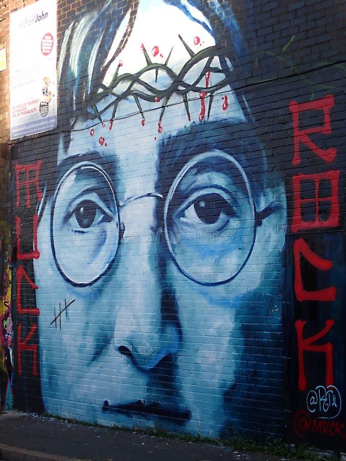 JOHN LENNON - Graffiti in Liverpool 2018 royalty free stock photos