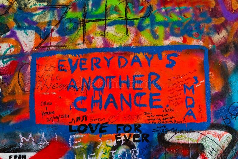 John Lennon Graffiti Wall on Kampa Island in Prague. PRAGUE, CZECH REPUBLIC - SEPTEMBER 11, 2014: Detail from Famous John Lennon Wall on Kampa Island in Prague stock images