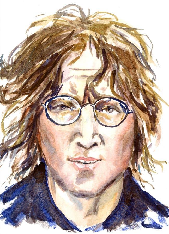 John Lennon, líder de Beatles, retrato da cara ilustração do vetor