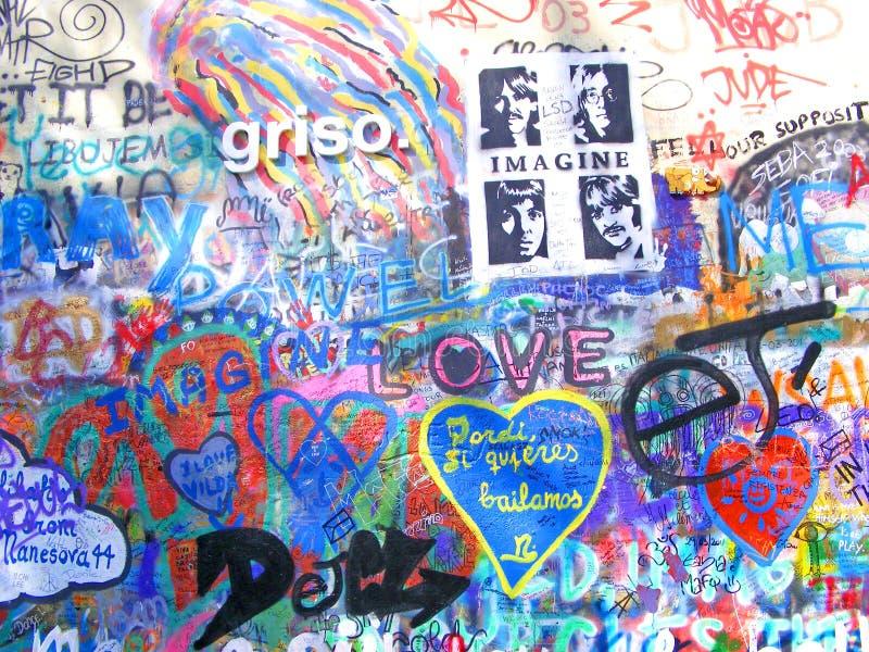 John Lennon Wall, Praag stock foto's