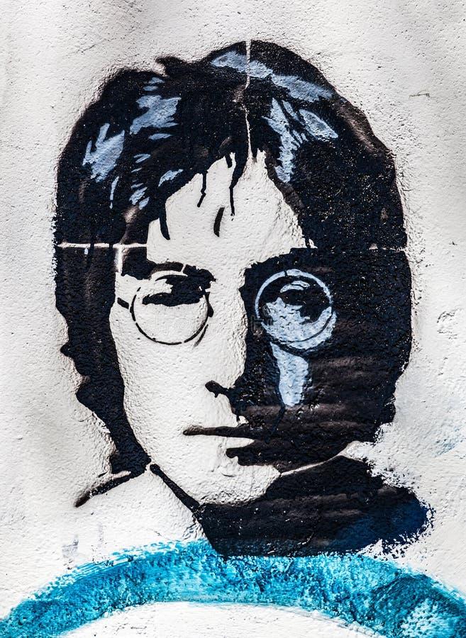 John Lennon Wall, Praga, República Checa Fundo do close-up do retrato fotografia de stock royalty free
