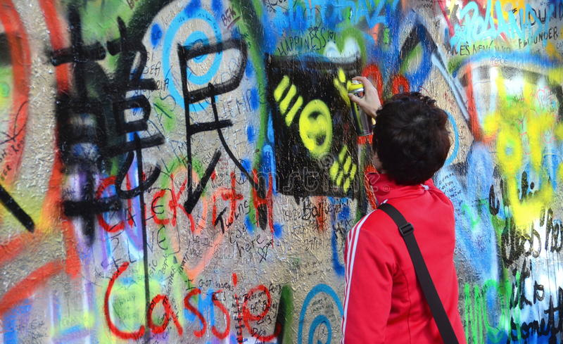John Lennon Wall, Prague Editorial Stock Photo