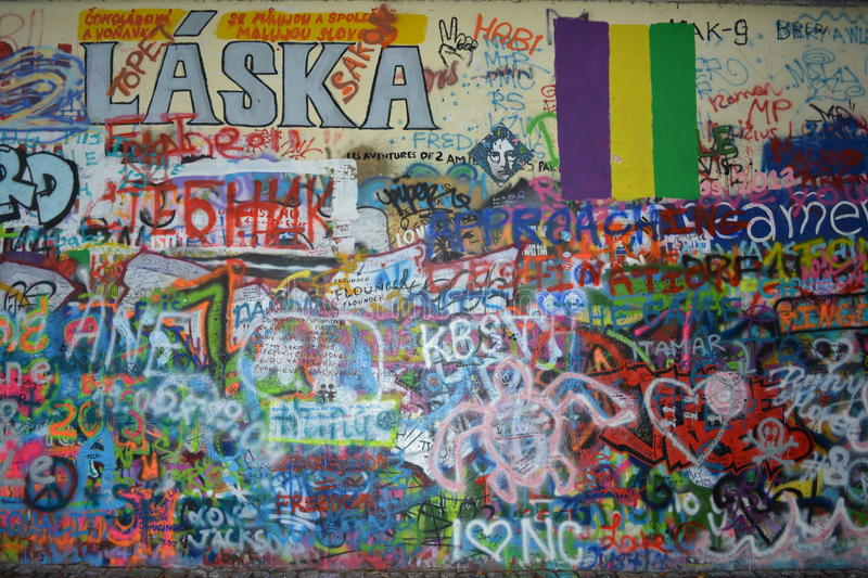 John Lennon Wall in Prague, Czech Republic stock photos