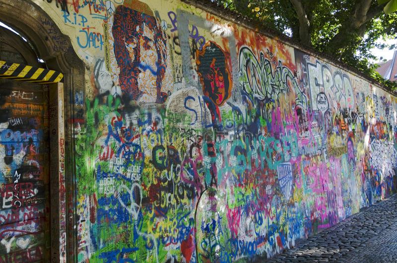 John Lennon wall, Prague stock photo