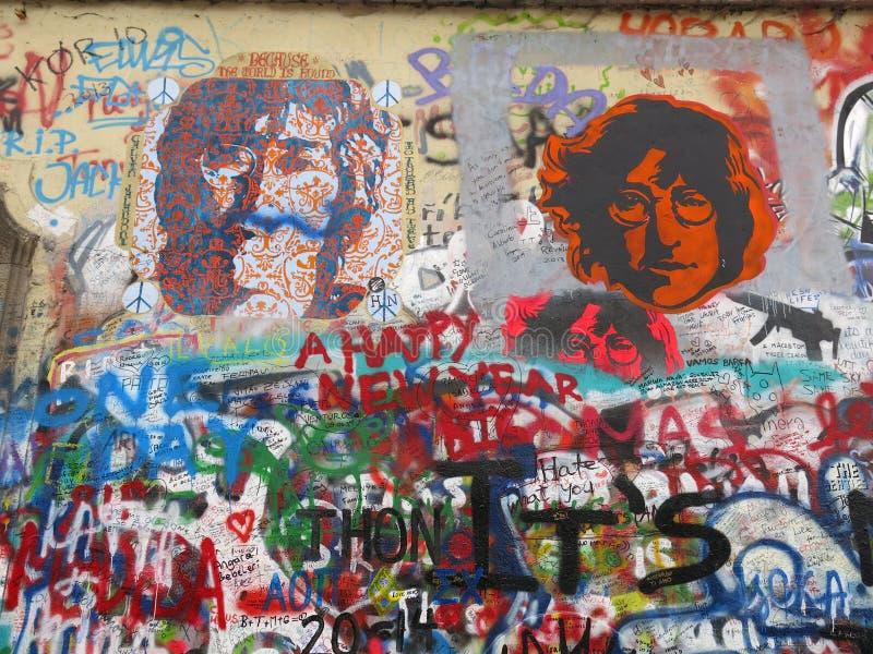 John Lennon Wall in Prague. Graffiti portraits and writing on the John Lennon Wall in Prague, Czech Republic stock images