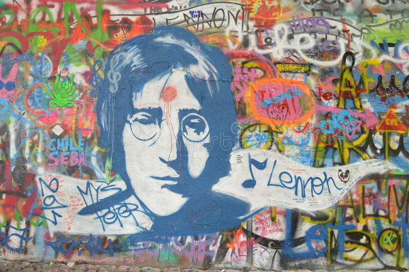 John Lennon Wall Prague. Picture of John Lennon Wall in Prague. It is a graffitti wall dedicated to John Lennon. It was repainted white which destroyed it but stock photos