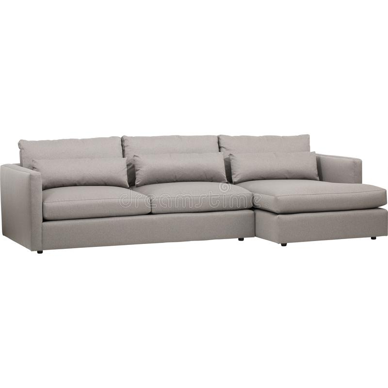 John Lewis & Partners Bailey RHF Chaise End Sofa Bed, A luxury sofa inspired by Italian design, Amalfi has leather upholstery with royalty free stock image