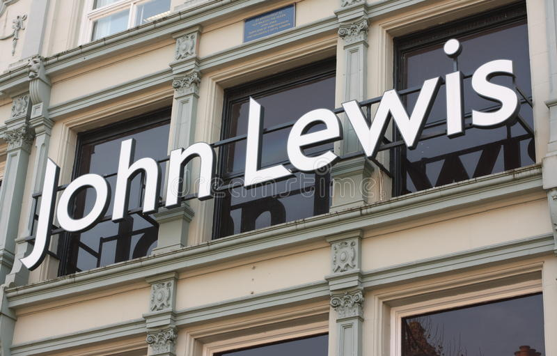 John Lewis Shop Sign. John Lewis sign on the front of the department store in Reading, England. Part of a chain of upmarket retail outlets across the UK