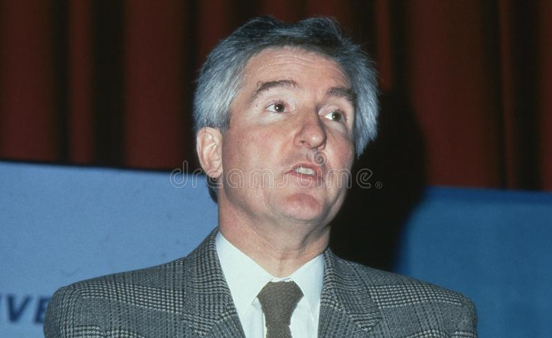 John Maples. Economic Secretary to The Treasury and Conservative party Member of Parliament for Lewisham West, speaks at a party conference in London on royalty free stock image