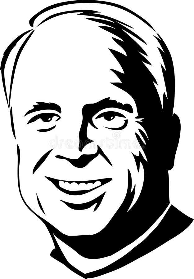 John McCain/eps. Black and white illustration of republican presidential candidate, Senator John McCain