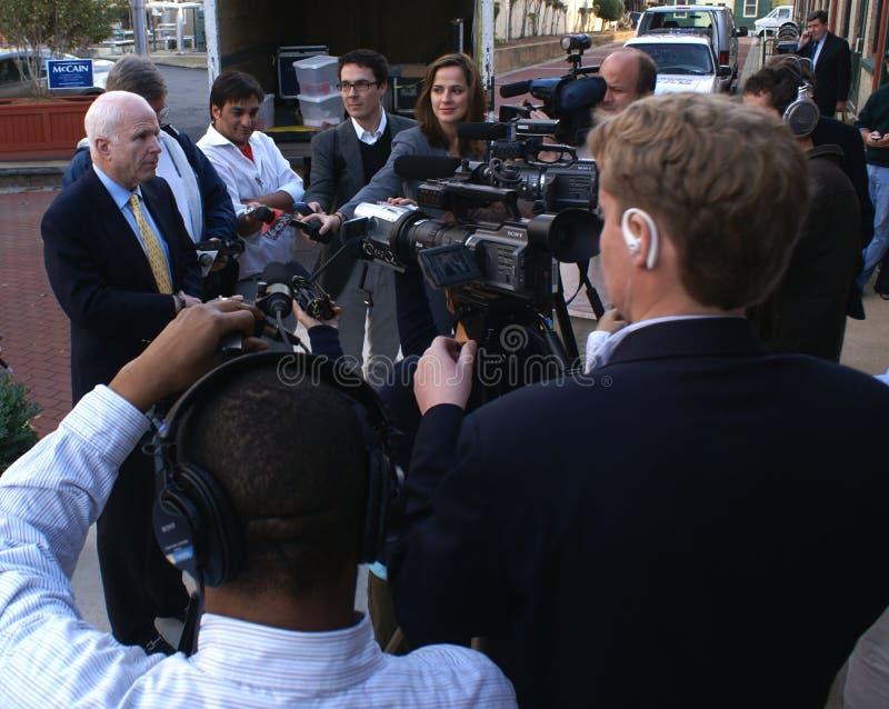 John McCain Talking With Media stock photography
