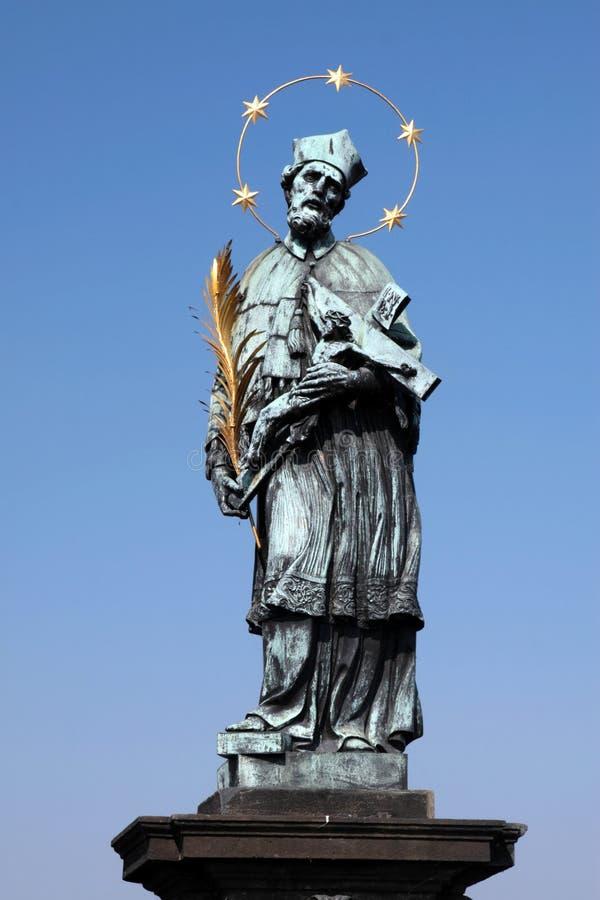 John nepomuk Charles mostu czeskiego Prague st. fotografia royalty free