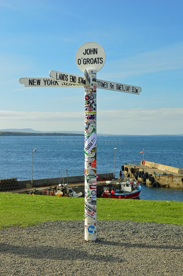 Free John O`Groats Road Sign On The North Coast 500, Scotland United Kingdom Europe Stock Images - 123649404
