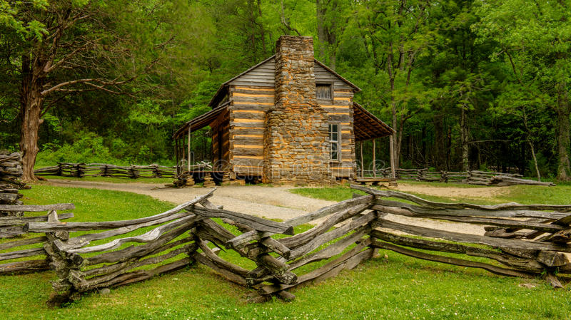 John Oliver's Cabin Great Smoky Mountains National Park. In Cade's Cove stock images