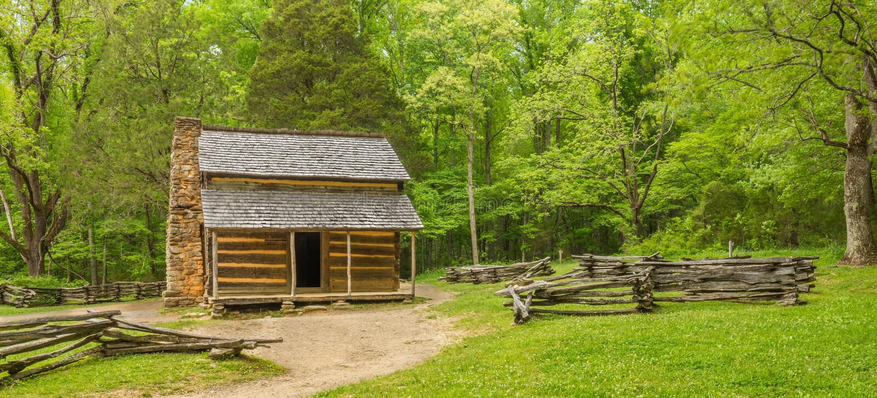 John Oliver u. x27; Nationalpark s-Kabinen-Great Smoky Mountains stockbild